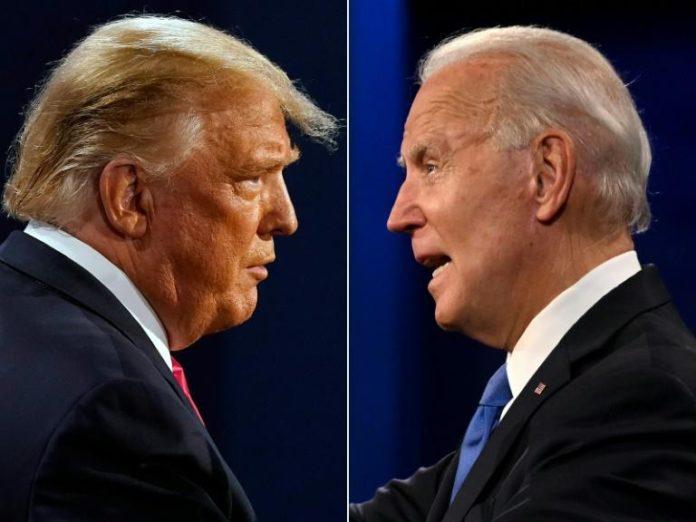 Donald Trump et Joe Biden lors du débat présidentiel organisé le 22 octobre 2020 Nashville, dans le Tennessee afp.com - Morry GASH, JIM WATSON