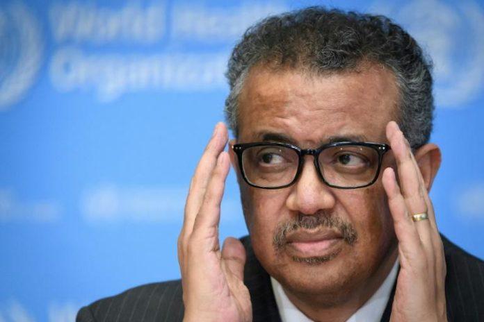 Le directeur de l'Organisation mondiale de la Santé (OMS), l'Ethiopien Tedros Adhanom Ghebreyesus, au siège de l'organisation à Genève, le 11 mars 2020 afp.com - Fabrice COFFRINI