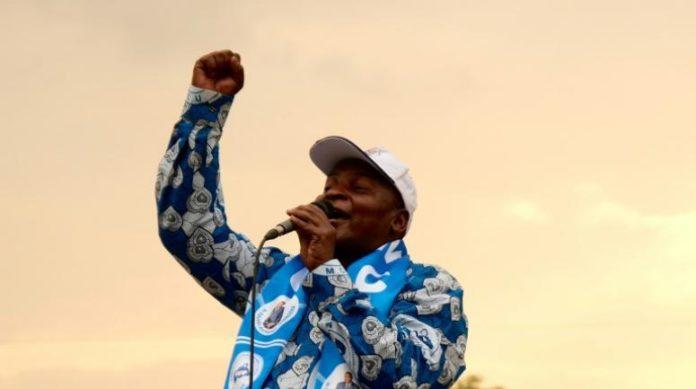 Le président centrafricain sortant Faustin Archange Touadéra lors d'un meeting de campagne, le 12 décembre 2020 à Bangui afp.com - Camille LAFFONT