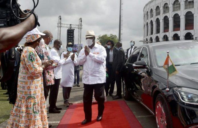 Le président ivoirien Alassane Ouattara le 15 juilet 2020 à Abidjan lors d'un hommage à son Premier ministre décédé, Amadou Gon Coulibaly afp.com - SIA KAMBOU