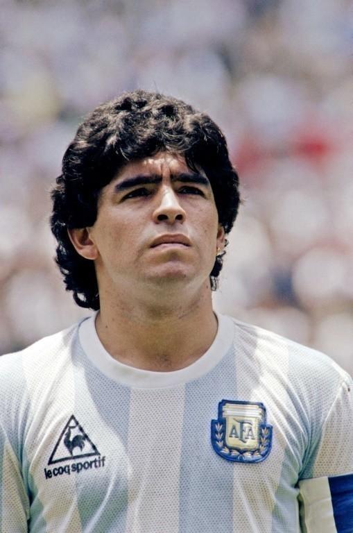 Le milieu argentin Diego Maradona avant la finale de la Coupe du monde 1986 contre l'Allemagne de l'Est, à Mexico, le 29 juin afp.com - -