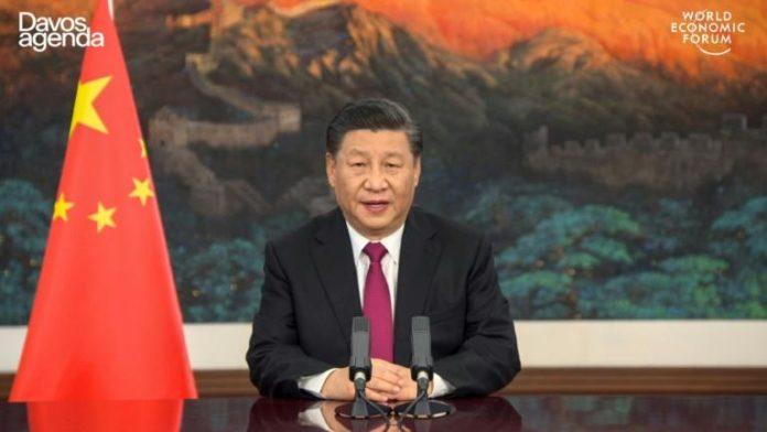 Image d'une vidéo fournie par le site internet du Forum économique mondial de Davos, montrant l'intervention du président chinois Xi Jinping le 25 janvier 2021 afp.com - -