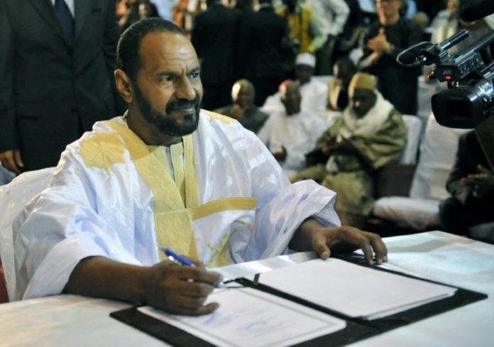 Une photo d'archives, pris le 20 juin 2015, de Sidi Brahim Ould Sidati, président en exercice de la Coordination des mouvements de l'Azawad (CMA), assassiné le 13 avril 2021 à Bamako. afp.com - HABIBOU KOUYATE