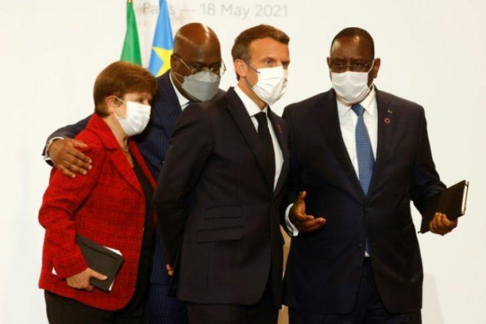 De g. à d.: Kristalina Georgieva, du Fonds monétaire international, Felix Tshisekedi, président de la RDCongo et de l'Union africaine, Emmanuel Macron, président français, et Macky Sall, président du Sénégal, le 18 mai 2021 à Paris afp.com - Ludovic MARIN