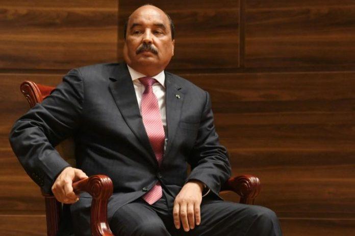 L'ex-président mauritanien Mohamed Ould Abdel Aziz lors de la prestation de serment de son successeur à Nouakchott, le 1er août 2019 afp.com - Seyllou