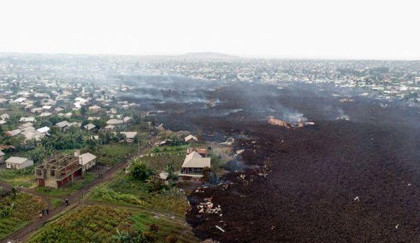 Vue aérienne de la coulée de lave qui a englouti les environs de Goma, le 23 mai 2021 en RDC afp.com - Justin KATUMWA