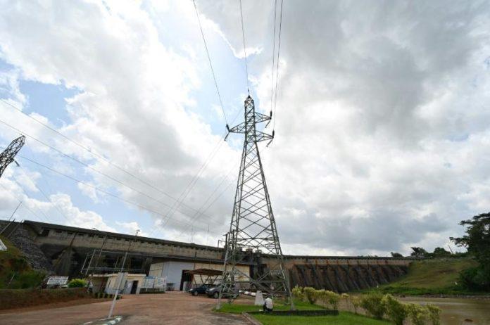 Une partie du barrage hydroélectrique d'Ayamé, dans le Sud de la Côte d'Ivoire, le 28 mai 2021 afp.com - Issouf SANOGO