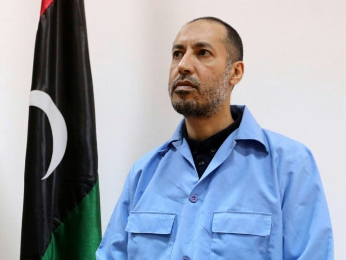 Saadi Kadhafi, le fils de l'ex-dictateur libyen, lors de son procès à Tripoli, le 13 mars 2016 afp.com - MAHMUD TURKIA